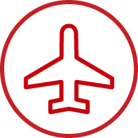 Line art image of an airplane