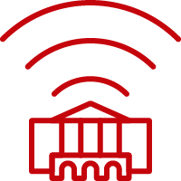 Line art image of Bascom Hall with WiFi signals emerging from it's roof