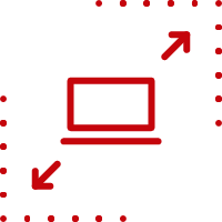 Line art image of a laptop scaling in size