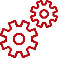 Line art image of gears